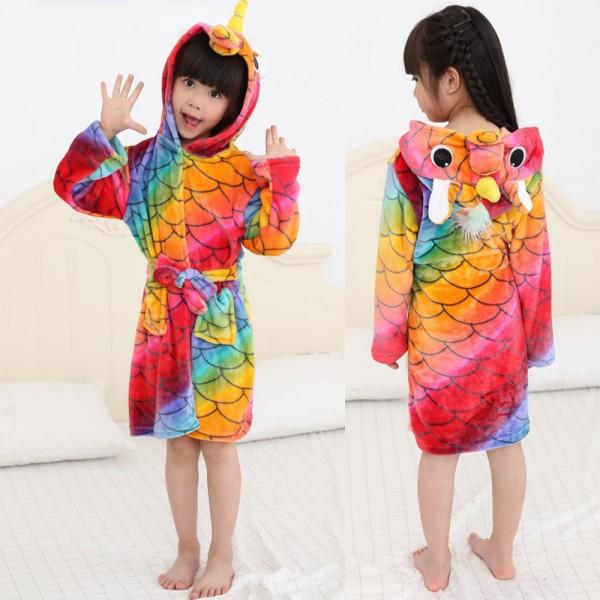 Scale Unicorn Robe Animal Robes Hooded Bathrobe for Kids