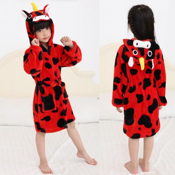 Red Unicorn Robe Animal Robes Hooded Bathrobe for Kids