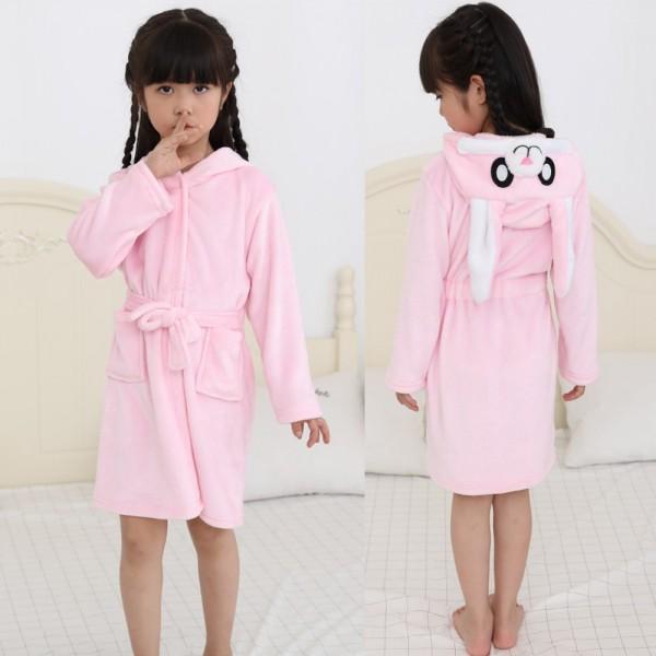Pink Bunny Robe Animal Robes Hooded Bathrobe for Kids