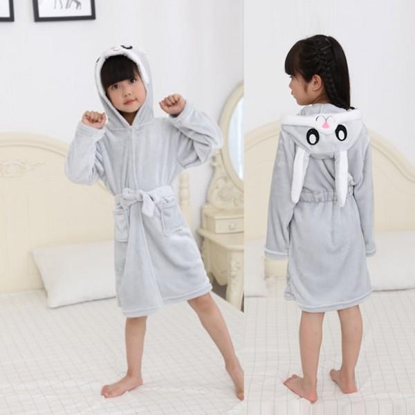Grey Bunny Robe Animal Robes Hooded Bathrobe for Kids