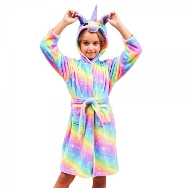 Soft Unicorn Hooded Bathrobe Sleepwear Unicorn Gifts for Girls Yellow Rainbow