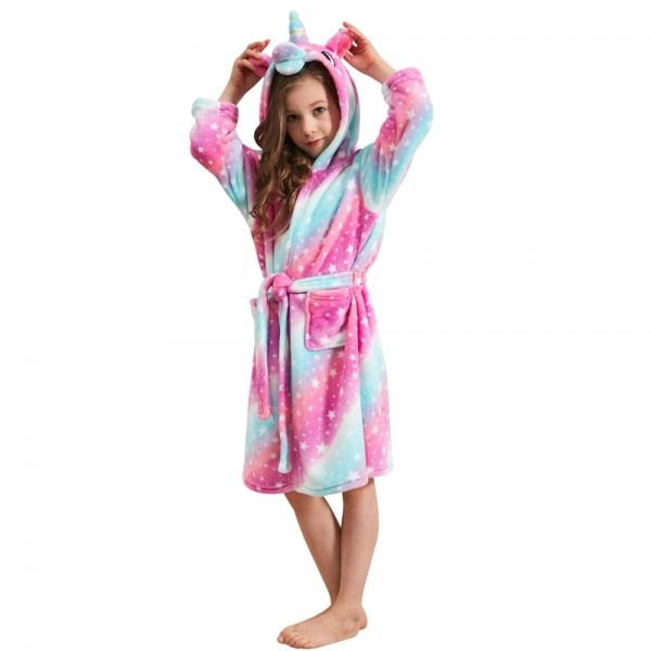 Soft Unicorn Hooded Bathrobe Sleepwear Unicorn Gifts for Girls Purple Rainbow