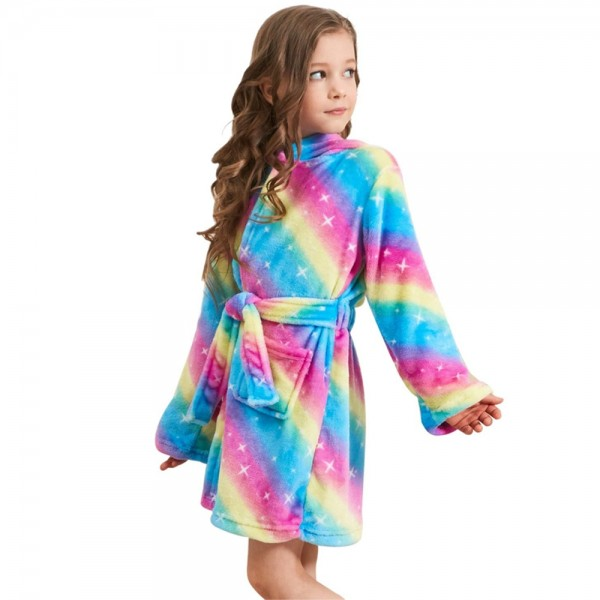 Soft Unicorn Hooded Bathrobe Sleepwear Unicorn Gifts for Girls Star Rainbow