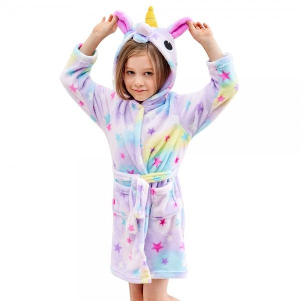 Soft Unicorn Hooded Bathrobe Sleepwear Unicorn Gifts for Girls Star