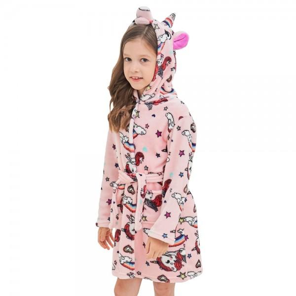 Soft Unicorn Hooded Bathrobe Sleepwear Unicorn Gifts for Girls Pink