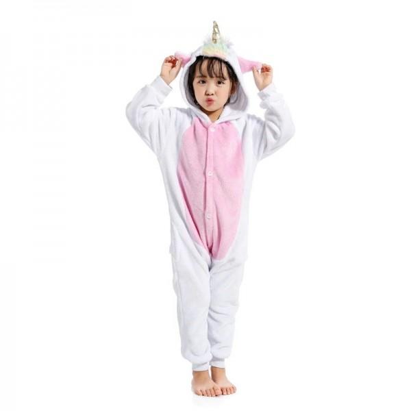 White Unicorn Kids Animal Onesie Pajamas Cosplay Cute Costume
