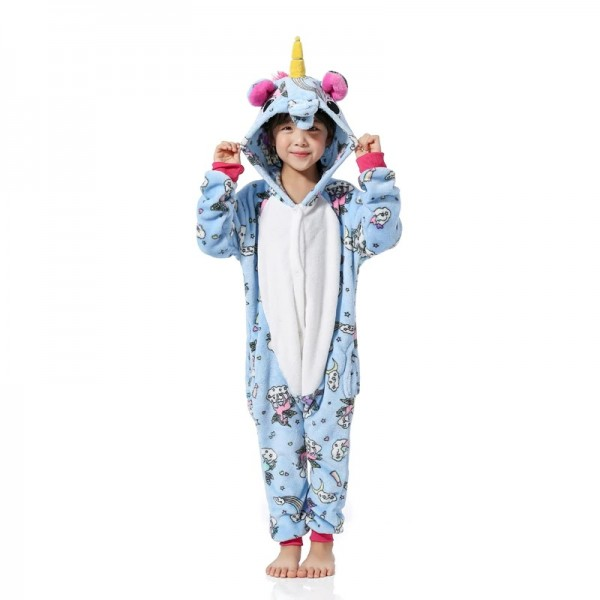 Blue Unicorn Pattern Kids Animal Onesie Pajamas Cute Costume