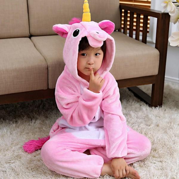 Pink Unicorn Kids Animal Onesie Pajamas Cute Costume