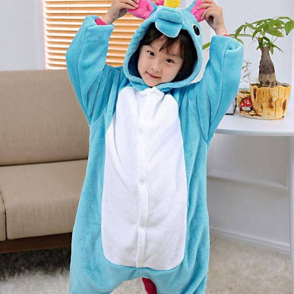 Blue Unicorn Kids Animal Onesie Pajamas Cute Costume