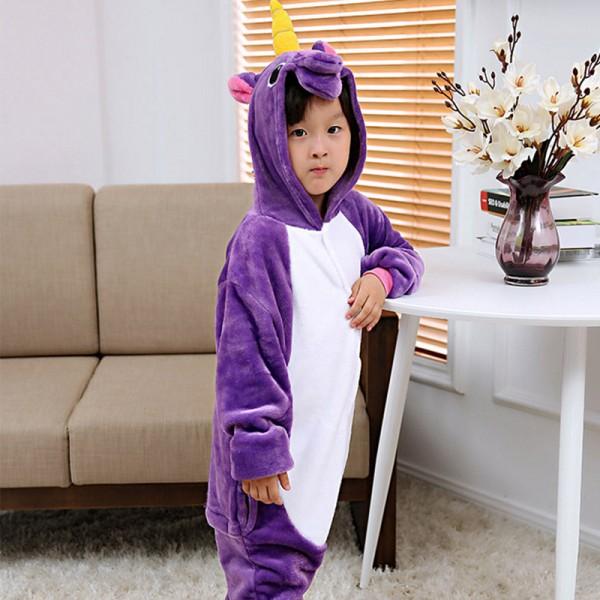 Purple Unicorn Kids Animal Onesie Pajamas Cute Costume