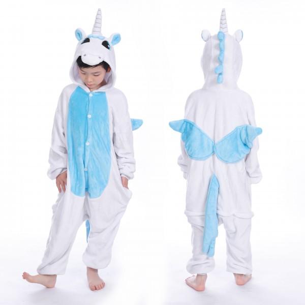 Blue Unicorn with Wings Kids Animal Onesie Pajamas Cute Costume