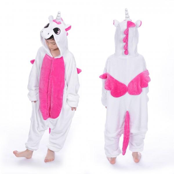 Rose Unicorn with Wings Kids Animal Onesie Pajamas Cute Costume