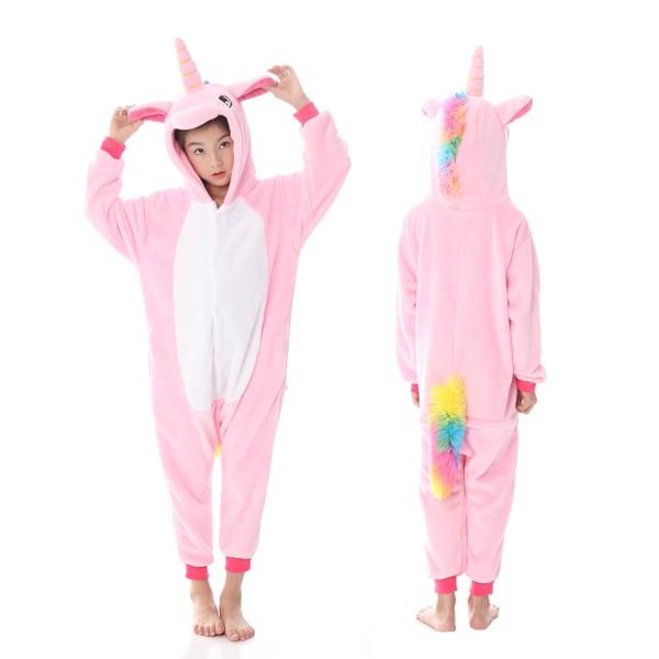 Pink Unicorn Onesie Pajamas Rainbow Tail Animal Onesies for Kids