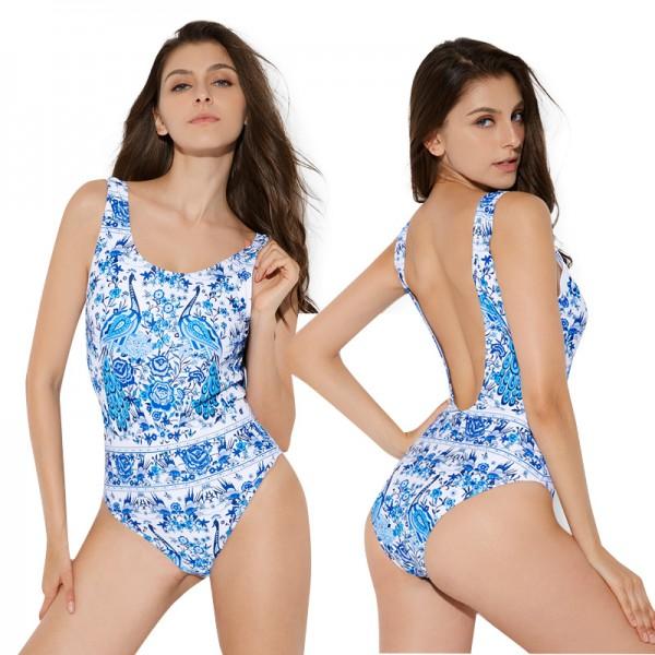 One Piece Bikini Blue Peacock Print Cheap Bathing Suits