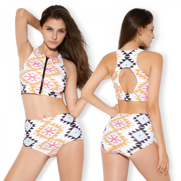 Two Piece Swimsuits For Women Bathing Suit Zip Up