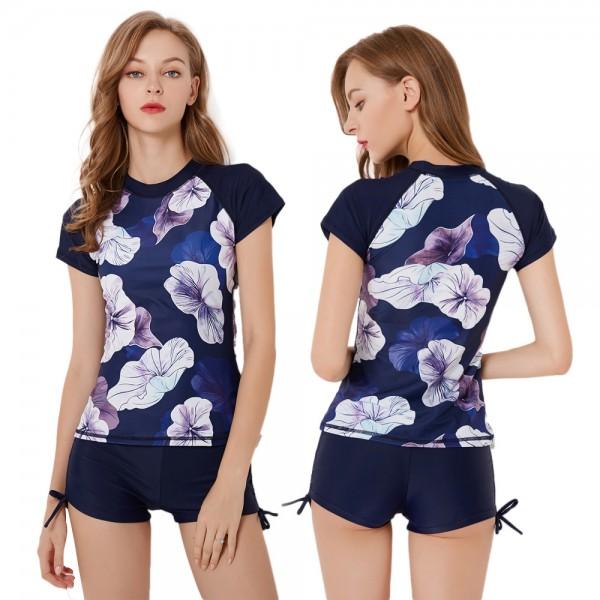 2Pcs Womens Navy Swimsuits Lotus Leaf Print Bathing Suits Surf Rash Guard
