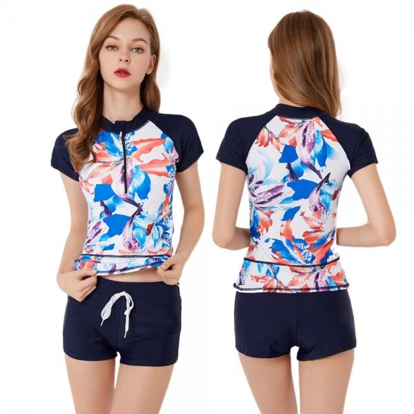 Womens 2Pcs Navy Swimsuits Short Sleeve Cheap Bathing Suits Rash Guard