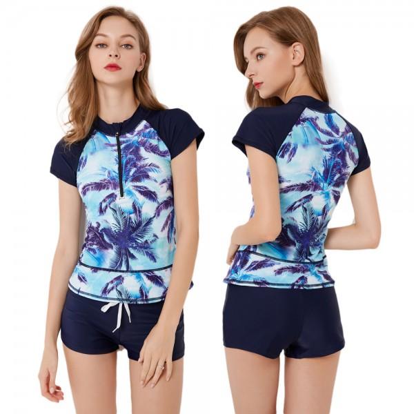Womens 2Pcs Navy Swimsuits Round Neck Zip Up Cheap Bathing Suits Rash Guard