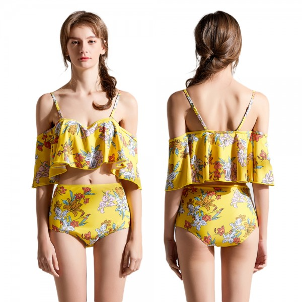 Yellow Swimsuits Flounce Foldover High Waisted Cheap Bathing Suits