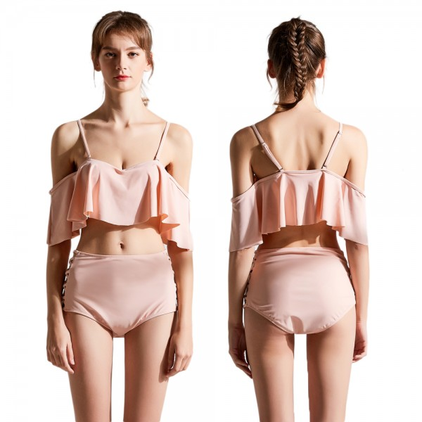 Cute Pink Swimsuits For Women & Teens Cheap Bathing Suit Flounce Foldover