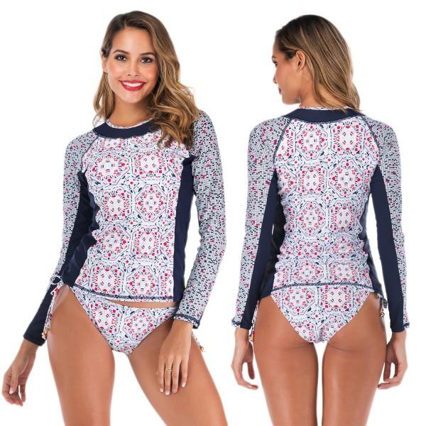 Womens 2Pcs Rash Guard Long Sleeve Cheap Bathing Swim Suits