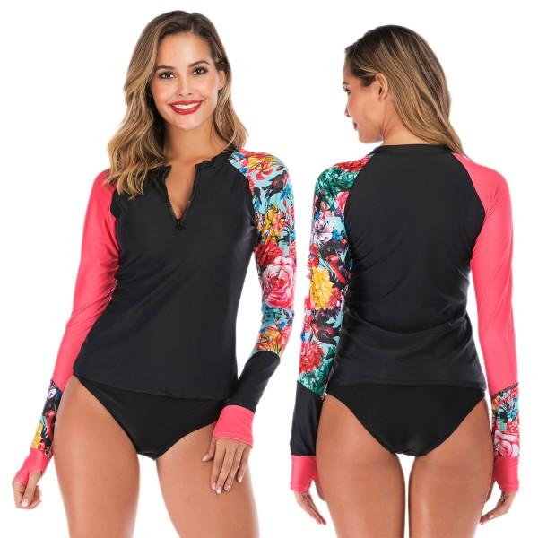 Womens 2Pcs Black Rash Guard Long Sleeve Cheap Bathing Suits Pink Floral