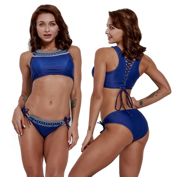 2Pcs Bathing Suits For Women Back Tie Rope High Neck Swimsuits