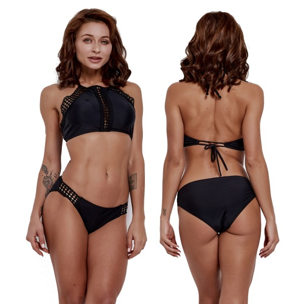 2Pcs Black Halter Bathing Suits Womens Bikinis Swimsuits Open Back