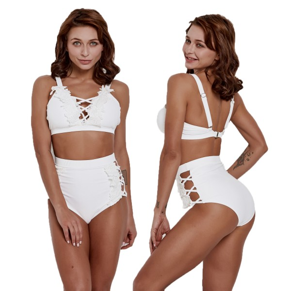 White Bathing Suit With Lace High Waisted Bikini Cheap Swimsuits