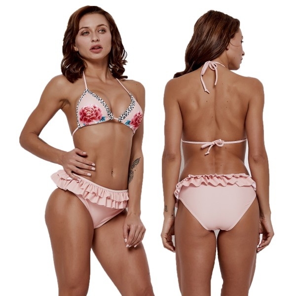 Cute Pink Bikinis Floral Pirnt Halter Swimsuits Cheap Bathing Suits