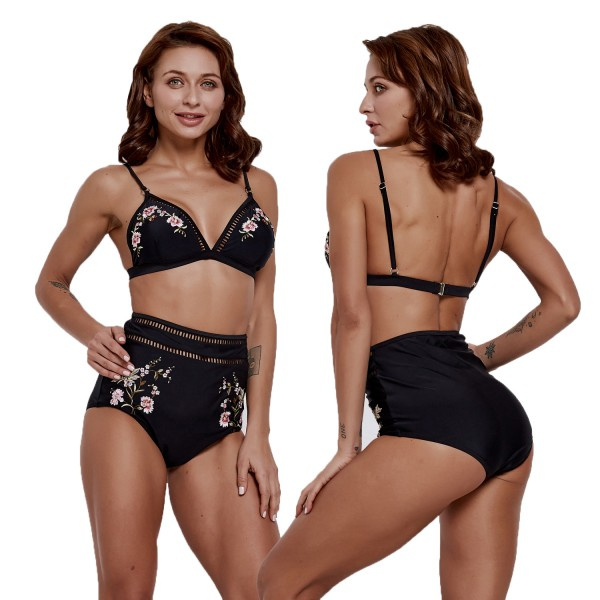 Black Womens Bikinis Floral High Waisted Bathing Suits Cheap Swim Suit