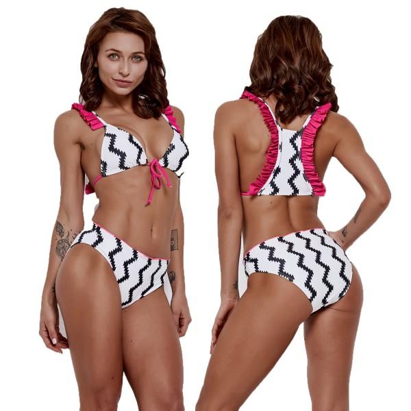 White Bikini Wave Print Swimsuits Rose Ruffles High Waisted Bathing Suits