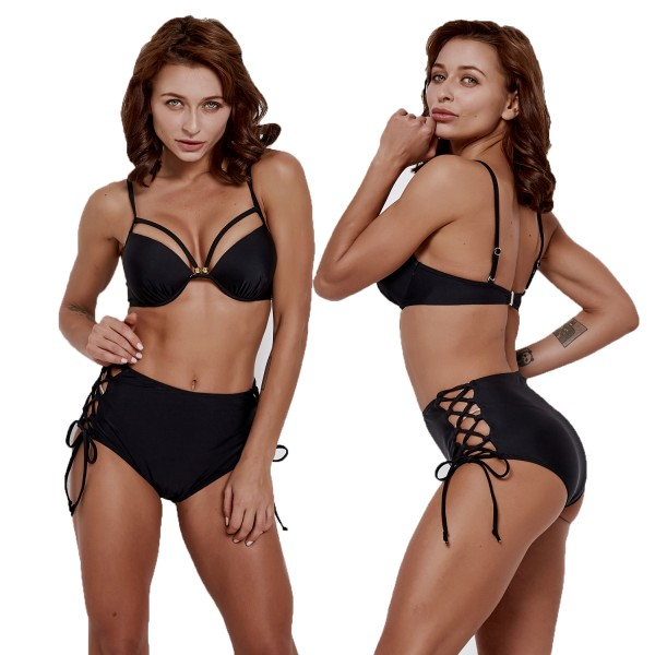 Black Bikini High Waisted Bathing Suits Cheap Swim Suit