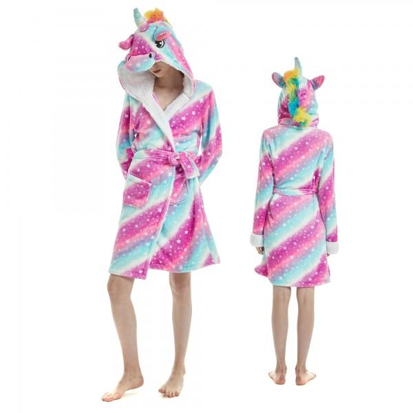 Purple Dream Unicorn Bathrobe for Women Flannel Hooded Robe